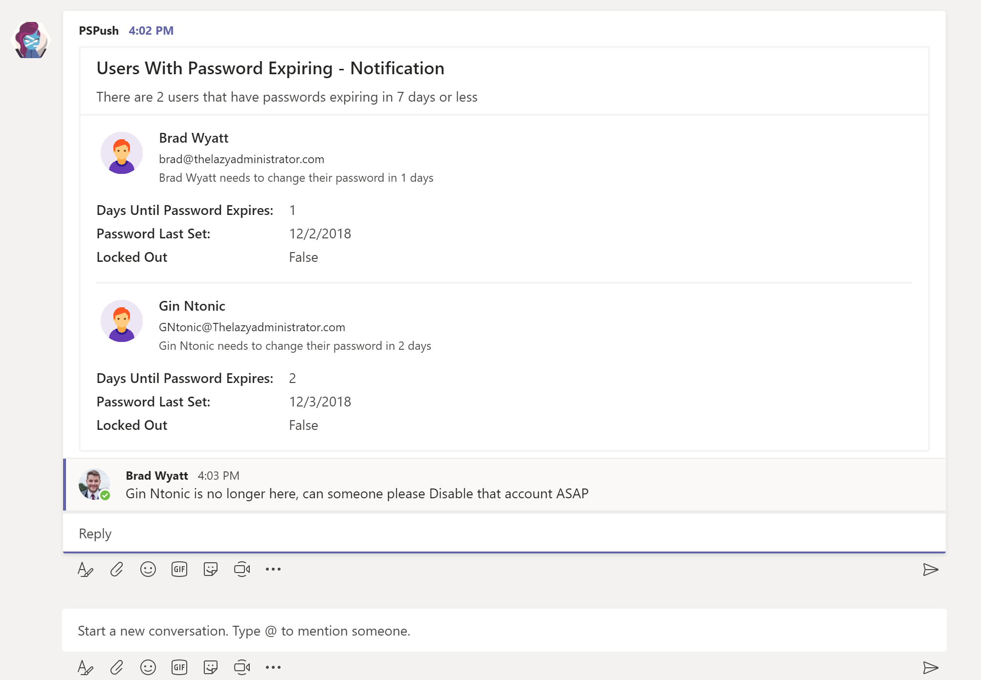 Post Users with Expiring Passwords as Microsoft Teams